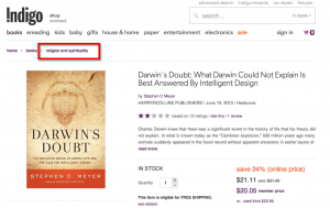 Darwin's Doubt Moved to Religion in July 2013