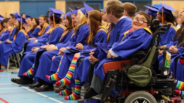 rainbow-socks-at-vanier-school-graduation
