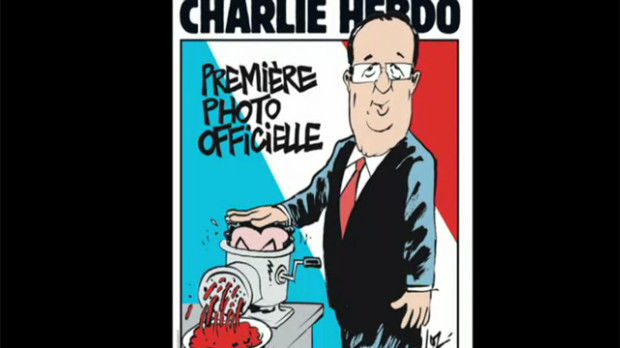 Screenshot of CBC News showing a Charlie Hebdo cover. The cover images shows François Hollande putting Nicolas Sarkozy's head in a sausage grinder.