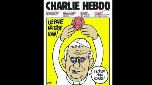 Screenshot of CBC News showing a Charlie Hebdo cover. The cover images features Pope Benedict blessing a condom as if it were a communion wafer, with caption: the Pope goes too far!