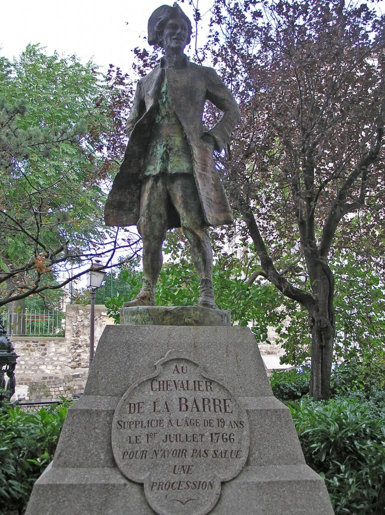[A photo of the Chevalier de la Barre statue in Paris.]