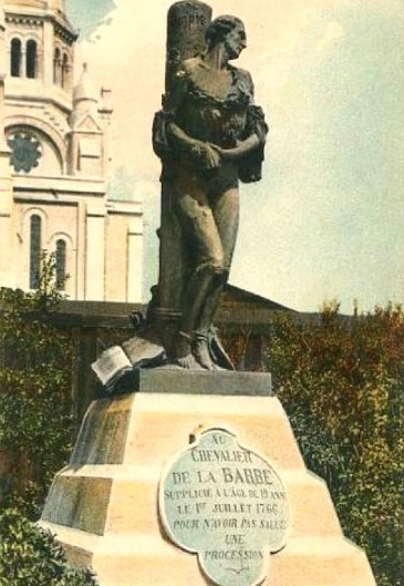 [An old photograph of the original Chevalier de la Barre statue in Paris.]