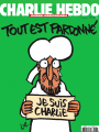 The cover has the standard 'Charlie Hebdo' masthead with the subheading 'Journal irresponsable'. The background is solid green, with the heading 'Tout est pardonné', and a drawing of Muhammad crying and holding a 'Je suis Charlie' sign.