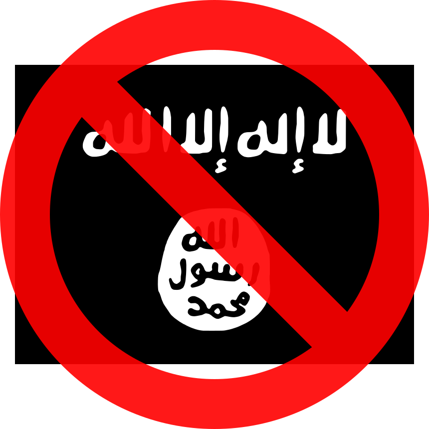 [The Daesh flag, with a circle-slash symbol overlaid.]