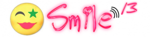 [The logo consists of a yellow happy face, with pink lipstick, and one eye formed from a crescent and the other from a star in a way that looks like winking. The text SMILE 13 is written along side in neon pink, in a typeface designed to look like a young girl's whimsical handwriting.].