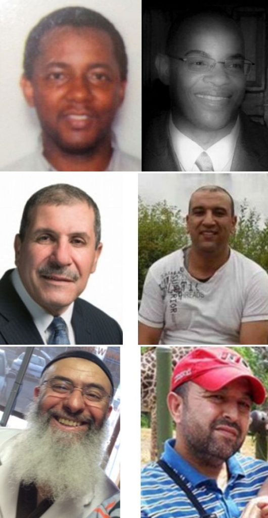 [A collage of photos of the victims of the 2017-01-29 Québec mosque shooting: Ibrahima Barry, Mamadou Tanou Barry, Khaled Belkacemi, Abdelkrim Hassane, Azzedine Soufiane, and Aboubaker Thabti.]