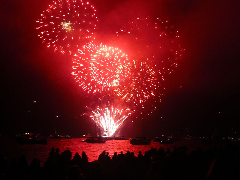 [Photo of red and white fireworks over the water against a night sky.]