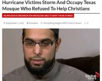 [Photo of a fake news story about a mosque in Texas denying aid to non-Muslims, featuring a photo of Mississauga imam Ibrahim Hindy, with a Canadian Global News logo in the corner.]