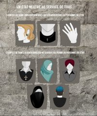 [Poster created by the Parti Québécois to illustrate which religious accessories were allowed and which were banned under their proposed Charter of Values. Allowed symbols are a standard Christian cross necklace, a star-and-crescent (Islamic) earring, and a Star of David (Jewish) ring. Disallowed accessories are an enormous Christian cross necklace about half the size of one's chest, a hijab, a turban/dastar, a niqb, and a kippah.]