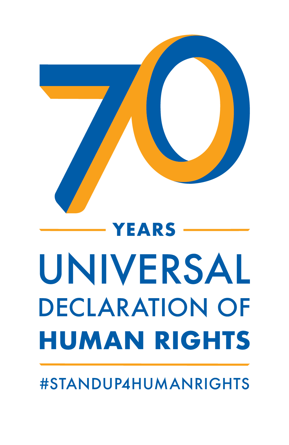 """[Logo for the 70th anniversary of the Universal Declaration of Human Rights. It is a stylized blue and orange """"70"""" over the words """"years"""", which is over the words """"Universal Declaration of Human Rights"""", which is over """"#standup4humanrights"""".]"""