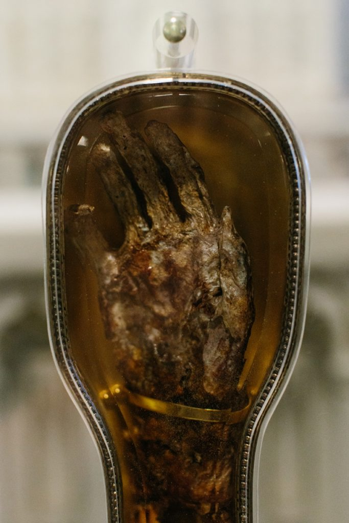 [Photo of St. Francis Xavier's mummified hand and arm.]