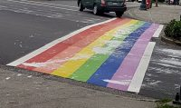 [Photo of a rainbow-coloured crosswalk in Surrey, splattered with white paint.]