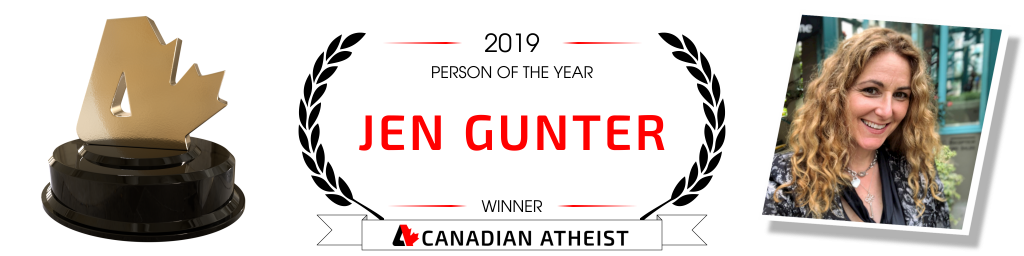 [Banner saying Dr. Jen Gunter is the 2019 Canadian Atheist person of the year]