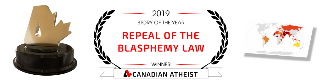 [Banner saying the repeal of the blasphemy law is the 2019 Canadian Atheist story of the year]