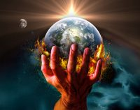 [An illustration of the Earth being held in the palm of a giant hand.]