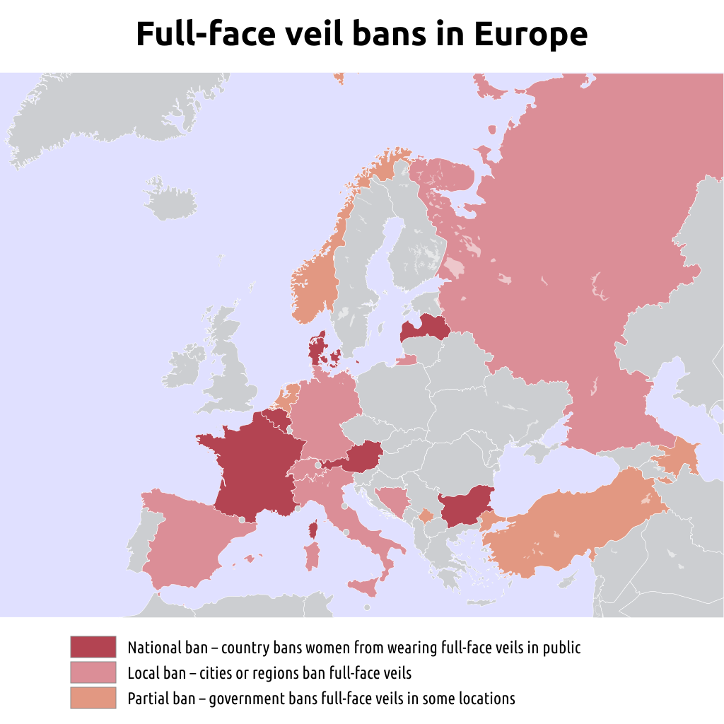 [Map of map of full face veil bans in Europe, as of 2018]