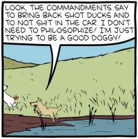 "[A cartoon showing two dogs at a pond, bringing a shot duck back to their owner. One says: ""Look, the commandments say to bring back shot ducks and to not shit in the car. I don't need to philosophize! I'm just trying to be a good doggy!""]"