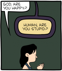 "[A cartoon panel depicting a woman praying. She asks: ""God, are you happy?"" God responds: ""Human, are you stupid?""]"