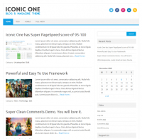 [Screenshot of Iconic One WordPress theme]